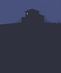 dark blue landscape sky with stars night house on a hill dark outline bushes branches and bright light to a rectangular box vector illustration vertical dark empty space bottom for text © Екатерина Зайцева