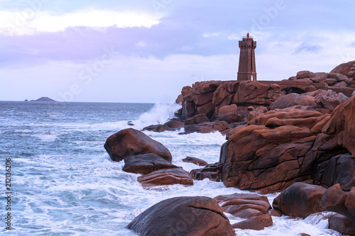 Fotobehang Vuurtoren typical Brittany coast in the north of France