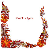 a frame with a flower ornament in a folk style - 212138247