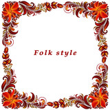 a frame with a flower ornament in a folk style - 212138259