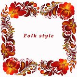 a frame with a flower ornament in a folk style - 212138276