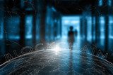 Blurry woman walks through city underpass zone with futuristic blockchain network background. Selective focus used. - 212138836