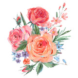 Vintage bouquet of pink roses - 212139472