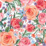 Vintage seamless pattern wuth pink roses - 212141636