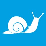 Snail icon white isolated on blue background vector illustration - 212143802