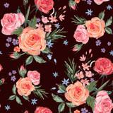 Vintage seamless pattern wuth pink roses - 212144021
