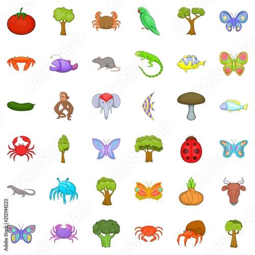 Nature world icons set. Cartoon style of 36 nature world vector icons for web isolated on white background