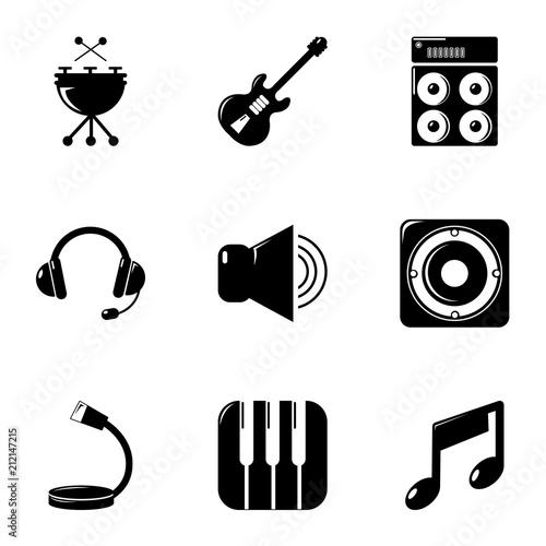 Fotobehang Muziek Music equipment icons set. Simple set of 9 music equipment vector icons for web isolated on white background