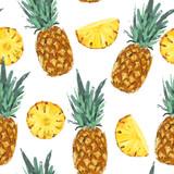 Seamless summer pineapple abstract pattern - 212147492