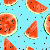 Seamless summer watermelon abstract pattern - 212149242