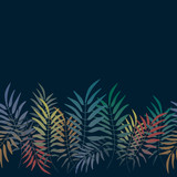 Vector seamless pattern. Colorful background with jungle motif. Botanical tropical background. - 212155809