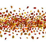 Seamless vector floral pattern background. Red and yellow leaves backdrop. Autumn leaves realistic vector repeatable border design. - 212155862