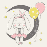 Vector illustration of a cute dreaming bunny girl, sitting on the moon. - 212159825