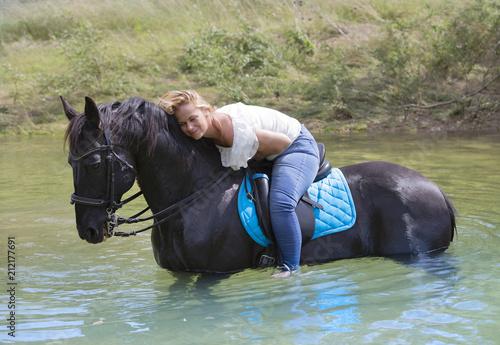 Fototapeta woman rider and horse