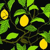 Seamless pattern with lemon tree ornament