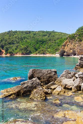 Fotobehang Zomer Adriatic sea coastline near a Budva city, Mediterranean summer seascape, nature landscape, vacations in the summer paradise