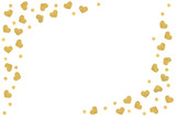 Gold glitter heart frame paper cut on white background - isolated - 212187616