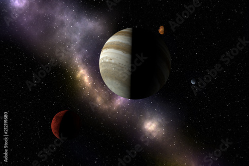Unknown planets, stars and nebula in outer space. Space exploration.