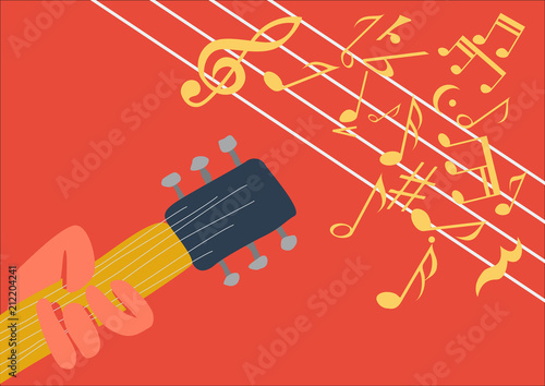 Aluminium Vintage Poster Music festival poster, with hand and guitar. Retro vector background, copy space