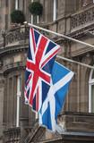 flag of the United Kingdom (UK) aka Union Jack and flag of Scotland - 212206697