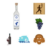 Country Greece cartoon icons in set collection for design.Greece and landmark vector symbol stock web illustration.