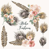 Collection of fashion boho boquets with roses and feathers for design - 212211461