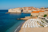 Beach of Dubrovnik Old Town in Dalmatia, Croatia. - 212213801