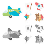 Children toy cartoon,monochrome icons in set collection for design. Game and bauble vector symbol stock web illustration.