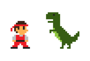 Pixel Man and Big Rex Dinosaur, Vector Poster