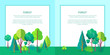 Forest Vector Web Banner with Trees and Bushes - 212221658