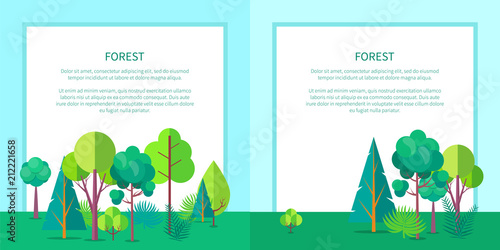 Foto Spatwand Lichtblauw Forest Vector Web Banner with Trees and Bushes