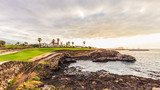 Ground path with handrails and golf course along rocky coastline. Tenerife, Spain.