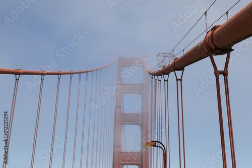 Tower of the Golden Gate Bridge in the fog, San Francisco, California, USA