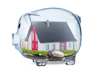 transparent piggy bank real estate finance financial savings business industrial construction concept