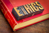 ethics word abstract in vintage wood type - 212233632