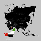Territory of United Arab Emirates (UAE) on Asia continent. Flag of United Arab Emirates (UAE). Vector illustration