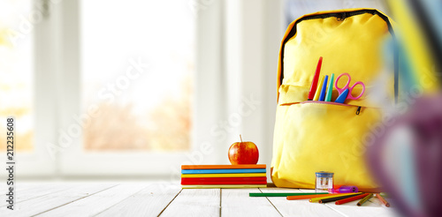 desk of free space. Window background. School time.  - 212235608