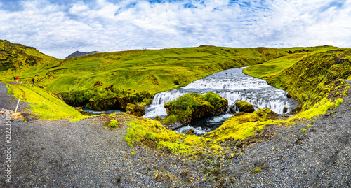 Panoramic view of beautiful, high and huge Skogarfoss waterfall on South Iceland - 212235884