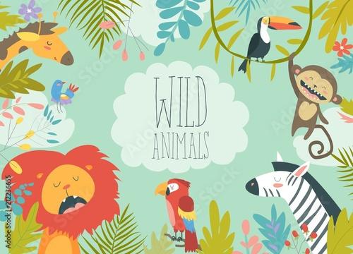Szczęśliwi dżungli zwierzęta tworzy tło obramiającego