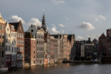 Amsterdam warehouses at sunset