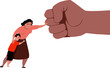 Woman fighting back a giant fist, protecting her child from abuse and domestic violence, EPS 8 vector illustration