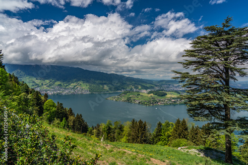 Fotobehang Nachtblauw Swiss, Lake Lucerne view