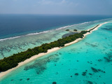 Maldives aerial view panorama landscape white sand beach - 212246083