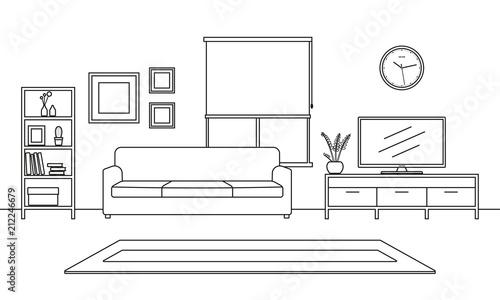 Living Room Interior Outline Sketch Line Style Furniture Sofa