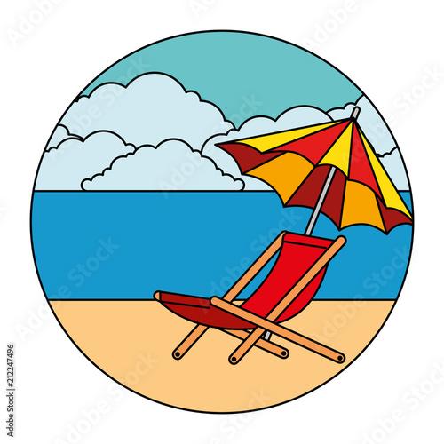 parasol plaża z krzesło wektor ilustracja projektu