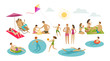 People rest on beach. Vacation, summer concept. Cartoon vector illustration