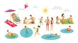 People rest on beach. Vacation, summer concept. Cartoon vector illustration