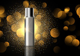 Blank cosmetic bottle on gold glitter display background - 212255802