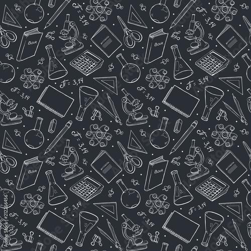 Fototapeta School doodle background. Vector seamless pattern from school elements hand drawn on blackboard. Back to school backdrop in sketch style.