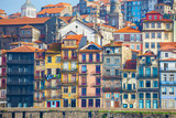 Typical old houses with colorful facades at Ribeira district, Porto, Portugal. - 212259070